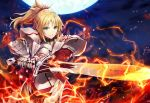 1girl armor armored_dress bangs blonde_hair braid breasts dress eyebrows_visible_through_hair fate/grand_order fate_(series) fire full_moon gabiran green_eyes holding holding_sword holding_weapon lightning long_hair looking_at_viewer moon mordred_(fate)_(all) night outdoors parted_lips ponytail red_dress sky smile solo star_(sky) starry_sky sword weapon