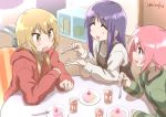 3girls :d :o ^_^ artist_name bangs blonde_hair blush brown_dress brown_eyes cake closed_eyes closed_eyes commentary_request cup door dress drink drinking_glass eyebrows_visible_through_hair feeding food fork green_shirt hair_between_eyes hair_over_shoulder hinata_yukari holding holding_fork hood hood_down hoodie ichii_yui indoors long_sleeves low_twintails multiple_girls nonohara_yuzuko open_mouth pink_hair plate purple_hair red_hoodie shirt signature sleeveless sleeveless_dress slice_of_cake smile sweat table twintails umiroku v-shaped_eyebrows white_shirt wooden_floor yuyushiki