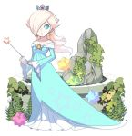 1girl aqua_dress bare_shoulders blonde_hair blue_eyes breasts bright_pupils closed_mouth crown dress earrings full_body gem hair_over_one_eye holding holding_wand jewelry long_hair long_sleeves mario_(series) nintendo off-shoulder_dress off_shoulder omochi_(glassheart_0u0) plant platinum_blonde_hair rosalina sleeves_past_wrists small_breasts solo standing star super_mario_galaxy wand water white_background white_pupils wide_sleeves