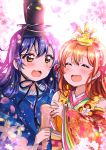 2girls absurdres bangs blue_hair blush closed_eyes commentary_request eyebrows_visible_through_hair floral_print hair_between_eyes hair_ornament highres holding hoshizora_rin japanese_clothes long_hair long_sleeves love_live! love_live!_school_idol_festival love_live!_school_idol_project multiple_girls open_mouth orange_hair short_hair smile sonoda_umi wide_sleeves yellow_eyes