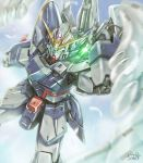 beam_saber commentary_request drawing_sword feathered_wings glowing glowing_eyes green_eyes gundam gundam_wing gundam_wing_endless_waltz mecha no_humans signature sky solo tyuga wing_gundam_zero_custom wings