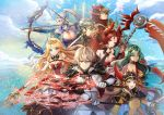 3boys 5girls :d ahoge animal artemia_(king's_raid) back bare_shoulders bird black_capelet blonde_hair blue_eyes blue_sky breasts brown_eyes brown_hair building capelet chase_(king's_raid) cleavage closed_mouth clouds cloudy_sky crown dagger day demon_horns dragon dress dual_wielding epis_(king's_raid) finger_to_mouth flock fur_collar gauntlets gloves green_eyes green_hair grey_hair hair_ornament helmet highres holding holding_dagger holding_scythe holding_spear holding_staff holding_weapon hood horns index_finger_raised king's_raid large_breasts laudia_(king's_raid) lightning long_hair long_sleeves looking_at_viewer melings_(aot2846) multiple_boys multiple_girls open_mouth orange_shirt outdoors polearm profile red_dress red_eyes reina_(king's_raid) roi_(king's_raid) scythe selene_(king's_raid) shirt short_hair silver_hair sky smile spear staff standing strapless strapless_dress theo_(king's_raid) v-shaped_eyebrows very_long_hair violet_eyes wavy_hair weapon white_coat white_gloves winged_helmet yellow_eyes