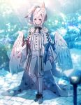 androgynous animal_ear_fluff animal_ears creatures_(company) day full_body game_freak gen_4_pokemon hair_ornament highres kneehighs long_sleeves looking_at_viewer low_wings moe_(hamhamham) nintendo outdoors personification pokemon shoes short_hair_with_long_locks sidelocks standing tail togekiss white_hair white_headwear white_legwear white_wings wings x_hair_ornament