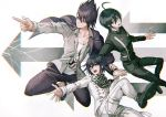 3boys @ ahoge artist_name beard black_hair black_jacket checkered checkered_scarf collarbone commentary_request danganronpa eyebrows_visible_through_hair facial_hair goatee hair_between_eyes jacket jacket_on_shoulders long_sleeves male_focus medium_hair messy_hair multiple_boys new_danganronpa_v3 pants pink_eyes pointing purple_hair purple_jacket sakuyu scarf shirt shoes short_hair smile striped striped_jacket striped_legwear sweatdrop white_jacket white_legwear white_shirt yellow_eyes