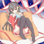 1girl ass bangs black_hair black_legwear blush braid christmas_ornaments commentary_request eyebrows_visible_through_hair fur_trim gift hair_ornament highres holding holding_gift idolmaster idolmaster_cinderella_girls kobayakawa_sae long_hair long_sleeves nabu_(xday) pillow santa_costume sitting solo thigh-highs