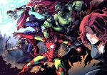 avengers bald black_widow blonde_hair bow_(weapon) breasts cape captain_america cleavage clenched_hands crossed_arms dark_skin dark_skinned_male eyepatch fingerless_gloves gloves green_skin grin hawkeye_(marvel) highres hulk iron_man ishiyumi lightning marvel mjolnir nick_fury power_armor quiver redhead shield smile thick_outlines thor_(marvel) weapon