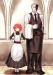 1boy 1girl apron black_footwear black_neckwear black_pants black_vest blue_eyes cecilia_(pixiv_fantasia_last_saga) clenched_hand facial_hair fidelio_(pixiv_fantasia_last_saga) gloves goatee grey_hair hands_on_hips highres long_sleeves maid maid_apron maid_headdress mask necktie old_man pants pantyhose pixiv_fantasia pixiv_fantasia_last_saga poco_(backboa) redhead standing vest white_gloves white_legwear
