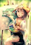 1girl absurdres animal_ears artist_painter beret black_shorts brown_hair canvas_(object) collarbone commentary dragalia_lost drawing english_commentary fleur hair_tubes hat highres midgardsormr_(dragalia_lost) one_eye_closed open_mouth paint paintbrush painting_(object) palette rabbit_ears ryo-suzuki shirt short_hair shorts sitting smile smock solo stool thighs tree yellow_eyes yellow_headwear yellow_shirt