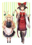 2girls ahoge alternate_eye_color apron arms_up ascot bangs bare_shoulders black_footwear black_hair black_skirt black_vest blonde_hair boots border bow breasts brown_eyes brown_footwear checkerboard_cookie collarbone cookie cross-laced_footwear detached_sleeves eyebrows_visible_through_hair food frilled_apron frills full_body green_background green_eyes hair_between_eyes hair_bow hakurei_reimu hand_up height_difference holding holding_food kirisame_marisa lace-up_boots long_hair long_sleeves mary_janes midriff_peek multiple_girls no_hat no_headwear outside_border petticoat puffy_short_sleeves puffy_sleeves red_bow red_skirt shin_(new) shirt shoes short_hair short_sleeves sidelocks skirt skirt_set small_breasts standing striped striped_background touhou vertical-striped_background vertical_stripes very_long_hair vest waist_apron white_apron white_background white_border white_shirt wide_sleeves wristband yellow_background yellow_neckwear younger