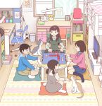 1boy 3girls aqua_sweater ball baseball_bat bedroom black_legwear block blue_hoodie blue_skirt bob_cut book bookshelf brown_dress brown_hair calendar_(object) cat chair clock commentary_request cushion desk desk_lamp drawer dress furrowed_eyebrows glasses green_shirt hood hoodie indian_style kiyo_(kyokyo1220) lamp loft_bed long_hair mahjong mahjong_tile multiple_girls office_chair open_mouth photo_(object) picture_frame pink_shirt rug scratching_chin shirt short_hair short_twintails sitting skirt soccer_ball socks striped striped_shirt table tan_legwear television trash_can turtleneck twintails wariza white_legwear window
