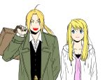 1boy 1girl ^_^ ahoge arm_at_side blonde_hair blue_eyes breasts carrying carrying_over_shoulder cleavage closed_eyes closed_eyes coat dress_shirt edward_elric eyebrows_visible_through_hair floating_hair fullmetal_alchemist grey_coat hanayama_(inunekokawaii) happy height_difference jacket long_hair looking_at_another open_mouth pink_shirt ponytail shirt simple_background smile suitcase teeth upper_body upper_teeth v-shaped_eyebrows vest white_background white_jacket white_shirt winry_rockbell