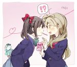 !? 2girls arms_behind_back bad_id bad_twitter_id black_hair blush bow bowtie brown_eyes brown_hair dated dghd food gift green_neckwear grin hair_bow heart heart_of_string holding holding_gift long_hair long_sleeves looking_at_another love_live! love_live!_school_idol_project minami_kotori multiple_girls one_side_up open_mouth otonokizaka_school_uniform pink_background pocky pocky_day pocky_kiss profile red_bow red_eyes red_neckwear school_uniform shared_food smile spoken_interrobang sweat twintails yazawa_nico yuri