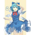 1girl :o absurdres ahoge arm_up bangs beige_background blue_bow blue_dress blue_eyes blue_hair border bow bowtie cirno commentary_request cowboy_shot dress eyebrows_visible_through_hair hair_between_eyes hair_bow highres ice ice_wings looking_at_viewer open_mouth outside_border petticoat pillarboxed pinafore_dress puffy_short_sleeves puffy_sleeves red_bow red_neckwear rin_falcon shirt short_hair short_sleeves simple_background solo speech_bubble standing thighs touhou translation_request white_border white_shirt wings