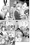 amatsukaze_(kantai_collection) bacius blush chopsticks comic dress food garter_straps greyscale hair_tubes hat highres kantai_collection long_hair mini_hat monochrome multiple_girls open_mouth pantyhose sailor_dress shimakaze_(kantai_collection) short_dress short_hair short_hair_with_long_locks steam sweat tokitsukaze_(kantai_collection) translation_request two_side_up windsock yukikaze_(kantai_collection)