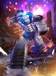 absurdres artist_request autobot battle box_art building clenched_hands cybertron debris dirty energy explosion fighting_stance fire glowing highres hologram holographic_interface insignia lens_flare machinery mecha night official_art official_style promotional_art realistic robot running science_fiction sky sparks star_(sky) starry_sky symbol tailgate transformers visor