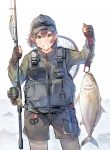 1girl black_gloves black_headwear black_shorts brown_hair commentary_request daito eyewear_on_headwear fish fishing_net fishing_rod gloves green_jacket grey_legwear grey_vest highres holding holding_fishing_rod jacket looking_at_viewer lure original pantyhose partly_fingerless_gloves short_hair shorts simple_background solo sunglasses vest white_background