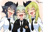 3girls :d anchovy anzio_school_uniform arm_around_shoulder artist_name bangs beret black_cape black_hair black_headwear black_neckwear black_ribbon blonde_hair braid cape carpaccio commentary dress_shirt drill_hair emblem eyebrows_visible_through_hair girls_und_panzer green_hair hair_ribbon hair_tie hat long_hair long_sleeves multiple_girls necktie open_mouth pepperoni_(girls_und_panzer) ribbon ruka_(piyopiyopu) school_uniform shirt short_hair side-by-side side_braid smile standing twin_drills twintails twitter_username upper_body white_shirt
