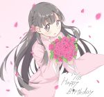1girl bangs black_hair blush braid commentary_request dated dot_nose eyebrows_visible_through_hair flower hair_flower hair_ornament happy_birthday holding holding_flower idolmaster idolmaster_cinderella_girls japanese_clothes kimono kobayakawa_sae leaf long_hair long_sleeves nabu_(xday) pink_flower pink_kimono solo