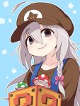1girl ?_block ahoge bandai blue_background blush bow braid brown_eyes brown_headwear brown_shirt collarbone cosplay ddak5843 flat_cap grey_hair hair_bow hair_through_headwear hat head_tilt hoshi_shouko idolmaster idolmaster_cinderella_girls long_hair mario mario_(cosplay) mushroom namco nintendo parted_lips pink_bow shirt side_braid single_braid smile solo star super_mario_bros. suspenders tokyo_mx upper_body