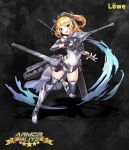 1girl animal_ears armor_blitz armored_boots armored_leotard bare_shoulders blonde_hair blue_eyes boots cat_ears caterpillar_tracks copyright_name elbow_pads eyebrows_visible_through_hair fingerless_gloves gloves gun hair_between_eyes head_tilt headphones highres holding holding_gun holding_weapon leg_up looking_at_viewer mecha_musume short_hair solo squchan thigh-highs v-shaped_eyebrows weapon