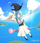 1girl arm_up artist_name bangs bare_shoulders bird black_footwear blue_eyes blue_hair blue_sky blush breasts closed_mouth clouds cloudy_sky collarbone commentary eyebrows_visible_through_hair flying front_ponytail hair_between_breasts hat headgear holding holding_hat island long_hair long_sleeves looking_to_the_side lunacchi mage magi_the_labyrinth_of_magic medium_breasts ocean off_shoulder robe sash seashell shell shell_bikini shoes sky smile solo staff staff_riding sunlight white_robe wide_sleeves witch_hat yamuraiha