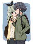 2girls anchovy backpack bag bangs black_hair black_pants black_ribbon black_shirt black_skirt blue_background braid brown_eyes brown_jacket casual cellphone commentary cowboy_shot drill_hair eyebrows_visible_through_hair from_side girls_und_panzer green_hair hair_ribbon hair_tie hand_in_pocket highres holding holding_cellphone holding_phone jacket long_hair long_sleeves miniskirt multiple_girls open_clothes open_jacket open_mouth outside_border pants pepperoni_(girls_und_panzer) phone pleated_skirt pointing red_eyes ribbed_sweater ribbon rounded_corners ruka_(piyopiyopu) shirt short_hair side_braid skirt smartphone standing sweater turtleneck twin_drills twintails white_sweater yellow_jacket