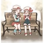 2girls ^_^ bench blue_(pokemon) blue_legwear blush brown_hair closed_eyes closed_eyes creatures_(company) day flat_chest full_body game_freak happy hat highres kotone_(pokemon) long_hair minapo miniskirt multiple_girls nintendo outdoors pokemon pokemon_(game) pokemon_frlg pokemon_hgss red_skirt shirt shoes sitting skirt sleeveless sleeveless_shirt steam twintails white_headwear