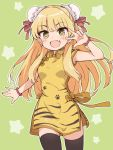 +_+ 1girl :d animal_print black_legwear blonde_hair blush bow breasts bun_cover chinese_clothes ddak5843 double_bun dress earrings fang green_background hair_down hand_up idolmaster idolmaster_cinderella_girls jewelry jougasaki_rika long_hair looking_at_viewer open_mouth orange_bow print_dress simple_background small_breasts smile solo star starry_background thigh-highs tiger_print v_over_eye very_long_hair yellow_dress yellow_eyes