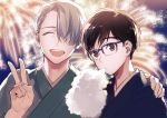 2boys ^_^ black_hair blue-framed_eyewear brown_eyes closed_eyes closed_eyes cotton_candy eating fireworks glasses hair_over_one_eye hand_on_another's_shoulder japanese_clothes katsuki_yuuri male_focus multiple_boys open_mouth silver_hair smile summer_festival uhouho14 upper_body v viktor_nikiforov yuri!!!_on_ice