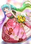 1girl blue_eyes blue_hair bouquet collarbone dress eyebrows_visible_through_hair floral_print flower green_hair hair_between_eyes hair_flower hair_ornament hatsune_miku head_wreath highres holding holding_bouquet long_dress looking_at_viewer multicolored_hair obi pink_dress print_dress purple_hair rose sash sato-pon shiny shiny_hair sleeveless sleeveless_dress solo striped striped_dress vocaloid white_flower white_rose yellow_flower
