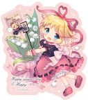 1girl :d ^_^ ^o^ amo black_shirt blonde_hair bloomers blue_eyes blush bouquet bow chibi closed_eyes closed_eyes doll english_text flower french_text full_body hair_ribbon heart heart_ribbon holding holding_bouquet lily_of_the_valley looking_at_viewer medicine_melancholy open_mouth pink_background puffy_short_sleeves puffy_sleeves red_footwear red_ribbon red_skirt reiwa ribbon ribbon-trimmed_bloomers ribbon-trimmed_skirt ribbon-trimmed_sleeves ribbon_trim shirt shoes short_hair short_sleeves simple_background skirt smile star su-san touhou twitter_username underwear wrist_cuffs