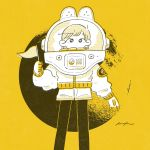 1girl astronaut astronaut_helmet black_eyes crater expressionless feet_out_of_frame flag halftone highres holding holding_flag keke_(kotowari) long_sleeves looking_at_viewer monochrome moon no_nose original solo spacesuit standing yellow_theme