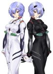 2girls ayanami_rei black_bodysuit bnc_(bunshi) bodysuit breasts eyebrows_visible_through_hair grey_hair headgear multiple_girls neon_genesis_evangelion plugsuit rebuild_of_evangelion red_eyes short_hair simple_background small_breasts white_background