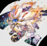 1girl alolan_form alolan_vulpix blonde_hair braid creatures_(company) dress game_freak gen_1_pokemon gen_7_pokemon green_eyes hat kantarou_(8kan) legendary_pokemon lillie_(pokemon) litten long_hair nintendo open_mouth pokemon pokemon_(anime) pokemon_(creature) pokemon_sm_(anime) sleeveless sleeveless_dress solgaleo sun_hat twin_braids vulpix white_dress white_headwear