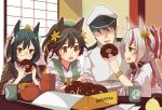 1boy 3girls animal_ears azur_lane bell black_hair chocolate_doughnut commander_(azur_lane) commentary_request cup doughnut eating faceless faceless_male feeding flower food fox_ears glasses green_hair hair_bell hair_flower hair_ornament hair_ribbon hat hatakaze_(azur_lane) heart indoors japanese_clothes kamikaze_(azur_lane) long_hair looking_at_another matsukaze_(azur_lane) military military_hat military_uniform multicolored_hair multiple_girls ozu_warudo pastry_box ponytail remodel_(azur_lane) ribbon round_eyewear short_hair sitting streaked_hair sweatdrop table teacup teapot uniform white_hair window wooden_table yellow_eyes yunomi
