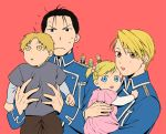 3girls 4boys :d :o ahoge alphonse_elric amestris_military_uniform black_eyes black_hair blonde_hair brown_eyes carrying couple dress edward_elric father_and_daughter father_and_son fingernails fullmetal_alchemist hanayama_(inunekokawaii) hetero mother_and_daughter mother_and_son multiple_boys multiple_girls nervous open_mouth pink_dress red_background riza_hawkeye roy_mustang short_hair simple_background smile sweatdrop twintails uncle_and_nephew uncle_and_niece winry_rockbell yellow_eyes