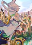 1girl armor breasts dark_skin elbow_gloves gloves glowing glowing_eyes green_eyes hagoromo highres long_hair nintendo shawl smile solo sou_(pale_1080) white_hair xenoblade_(series) xenoblade_2 yaegiri_(xenoblade)