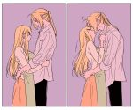 1boy 1girl 2koma apron black_pants blonde_hair blue_eyes breasts closed_eyes comic couple dress_shirt ear_piercing earrings edward_elric expressionless eyebrows_visible_through_hair fingernails fullmetal_alchemist grabbing green_apron hanayama_(inunekokawaii) hands_on_another's_hips hetero jewelry kiss long_hair long_skirt long_sleeves looking_at_another looking_down medium_breasts pants piercing ponytail profile pulling purple_background shirt shirt_grab silent_comic simple_background skirt smile surprise_kiss surprised upper_body white_shirt winry_rockbell