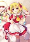 1girl :d alternate_costume apron ascot bangs blonde_hair blueberry blurry blurry_background blush brooch cake commentary_request cowboy_shot dress enmaided eyebrows_visible_through_hair fang flandre_scarlet food fork frilled_shirt_collar frills fruit hair_between_eyes hair_ribbon hands_up heart highres holding holding_food holding_fork indoors jewelry light_particles looking_at_viewer macaron maid maid_apron maid_headdress mary_janes one_side_up open_mouth petticoat plate puffy_short_sleeves puffy_sleeves red_dress red_eyes red_footwear red_ribbon ribbon ruhika shoes short_hair short_sleeves smile solo standing standing_on_one_leg strawberry strawberry_shortcake thigh-highs thighs tiered_tray touhou waist_apron white_apron white_legwear wrist_cuffs yellow_neckwear zettai_ryouiki