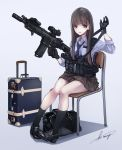 1girl assault_rifle black_legwear brown_eyes brown_hair chair commentary english_commentary fn_scar full_body gloves gun highres holding holding_gun holding_weapon kneehighs koh_(minagi_kou) load_bearing_equipment loafers long_hair luggage necktie original rifle school_chair school_uniform shoes signature simple_background sitting solo weapon
