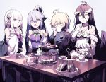 4girls :d absurdres ahoge albedo aqua_(konosuba) bangs bare_shoulders black_feathers black_wings blonde_hair blue_eyes blue_hair blue_shirt blunt_bangs bow braid brooch cake chair closed_eyes collarbone commentary_request crossover cup demon_girl demon_horns demon_wings detached_sleeves dress drinking eating elbow_gloves emilia_(re:zero) feathered_wings flower food french_braid frilled_dress frilled_gloves frills gloves green_bow green_ribbon hair_flower hair_ornament hair_rings hands_together highres holding holding_cup horns isekai_quartet jewelry kono_subarashii_sekai_ni_shukufuku_wo! lamy lavender_hair long_hair looking_at_another low_wings medal military military_uniform multiple_girls open_mouth overlord_(maruyama) pointing pointy_ears re:zero_kara_hajimeru_isekai_seikatsu ribbon rose sandwich shirt sitting smile talking tanya_degurechaff teacup teapot tiered_tray uniform violet_eyes white_dress white_flower white_gloves white_rose white_sleeves wings yellow_eyes youjo_senki