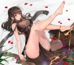 1girl alcohol alraco bangs bare_shoulders blunt_bangs blush breasts brown_hair cleavage dress dsr-50_(girls_frontline) girls_frontline glass hair_ornament highres jewelry large_breasts long_hair looking_at_viewer petals red_eyes shoe_dangle sidelocks solo very_long_hair