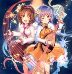 2girls ;) ;o album_cover bangs beamed_eighth_notes biwa_lute black_skirt blush breasts brown_eyes brown_hair chains commentary_request cover cuffs dress eighth_note eyebrows_visible_through_hair feet_out_of_frame flower hair_flower hair_ornament hairband holding holding_instrument instrument kirero leaf long_hair long_sleeves looking_at_viewer low_twintails lute_(instrument) multiple_girls musical_note one_eye_closed open_mouth orange_dress petticoat purple_hair purple_hairband shackles sheet_music shirt short_hair siblings sisters skirt small_breasts smile staff_(music) tears touhou tsukumo_benben tsukumo_yatsuhashi twintails very_long_hair white_flower white_shirt