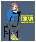 1girl :p absurdres artist_name blue_shirt blush_stickers brown_eyes cargo_pants chair clothes_writing commentary copyright_name cross-laced_footwear dated english_text girls_und_panzer grey_pants highres hood hoodie long_sleeves looking_at_viewer medium_hair pants print_shirt redhead rosehip shirt shoes signature sitting sitting_backwards solo tongue tongue_out w watch watch yellow_footwear zono_(inokura_syuzo029)