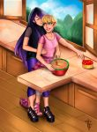 aerodynamict arms_around_waist black_hair blonde_hair blue_eyes closed_eyes cooking earrings food footsies fruit highlights highres jewelry juleka_couffaine kitchen long_hair miraculous_ladybug mixing_bowl multicolored_hair rose_lavillant sandals shoes short_hair single_shoe smile strawberry yuri