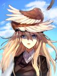 1girl blonde_hair blue_eyes blue_sky blurry clouds depth_of_field feathers hair_between_eyes hanna-justina_marseille head_wings long_hair miyoichi_(_miyoichi) parted_lips shaded_face signature sky solo strike_witches upper_body wind world_witches_series
