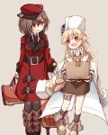 2girls :d absurdres bag bangs black_neckwear blonde_hair blush boots box brown_background brown_footwear brown_gloves brown_hair brown_legwear brown_skirt cardboard_box character_request coat collared_shirt commentary_request eye_contact eyebrows_visible_through_hair fingerless_gloves flat_cap fur_hat girls_frontline gloves hair_between_eyes hair_ornament hairclip hat highres holding holding_bag holding_box jacket jacket_on_shoulders knee_boots long_hair long_sleeves looking_at_another looking_to_the_side matsuo_(matuonoie) multiple_girls nagant_revolver_(girls_frontline) necktie open_mouth pantyhose red_coat red_eyes red_headwear shirt sideways_hat simple_background skirt smile socks white_gloves white_headwear white_jacket white_shirt yellow_eyes