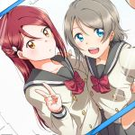 2girls :d arm_around_waist blue_eyes bow bowtie cellphone double-breasted grey_hair grey_skirt hair_ornament hairclip half_updo hand_on_another's_shoulder highres long_hair long_sleeves love_live! love_live!_sunshine!! multiple_girls open_mouth phone phone_screen red_neckwear redhead sakurauchi_riko school_uniform self_shot serafuku short_hair skirt smartphone smile uranohoshi_school_uniform v watanabe_you yellow_eyes yuchi_(salmon-1000)