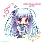 1girl accordion ahoge bangs beamed_eighth_notes black_legwear blue_sailor_collar blue_skirt blush bow character_name chibi commentary_request eighth_note eyebrows_visible_through_hair hair_between_eyes hair_ornament happy_birthday instrument juliet_sleeves kneehighs long_hair long_sleeves looking_at_viewer lump_of_sugar mizune_gin mouth_hold musical_note no_shoes pleated_skirt prism_rhythm puffy_sleeves red_bow red_eyes ryuuka_sane sailor_collar school_uniform serafuku shirt sidelocks silver_hair sitting skirt solo star star_hair_ornament treble_clef twitter_username two_side_up very_long_hair wariza white_background white_shirt
