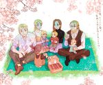 4boys 4girls alphonse_elric baby basket blanket blonde_hair blue_eyes blurry blurry_foreground branch brothers brown_hair carrying cherry_blossoms couple cup depth_of_field dress_shirt edward_elric family father_and_daughter father_and_son flower food full_body fullmetal_alchemist glass glasses grandfather_and_granddaughter grass green_eyes hanayama_(inunekokawaii) happy hetero holding holding_cup husband_and_wife legs_crossed mother_and_daughter mother_and_son multiple_boys multiple_girls outdoors petals pinako_rockbell pink_flower sandwich sara_rockbell seiza shirt siblings sitting smile translation_request tree_branch trisha_elric urey_rockbell van_hohenheim white_shirt winry_rockbell yellow_eyes younger